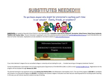 Substitutes NEEDED!!