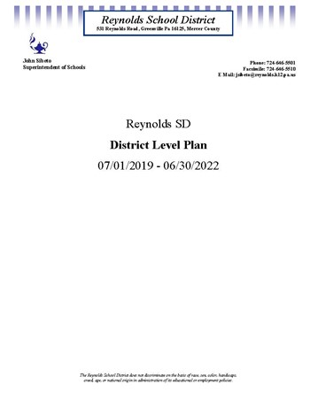 District Comprehensive Level Plan 2019-2022