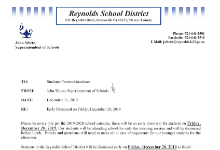 Early Dismissal on 12/20/2019