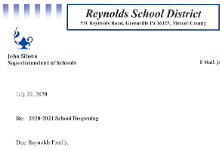Superintendent's Letter to Reynolds Community 20200722