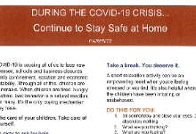 Covid-19 - Continue to Stay Safe at Home (Parents)