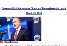 Governor Wolf Announces Closure of Pennsylvania Schools